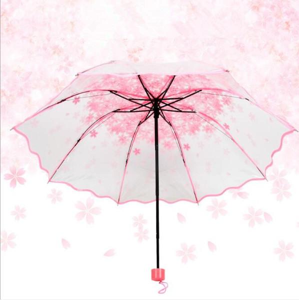 3 Складной Сакура Вишневый Прозрачный Зонт Женщины Дождь Длинный Ручной Зонтик Автомобиля Обратный Увеличить Арматура Парагва