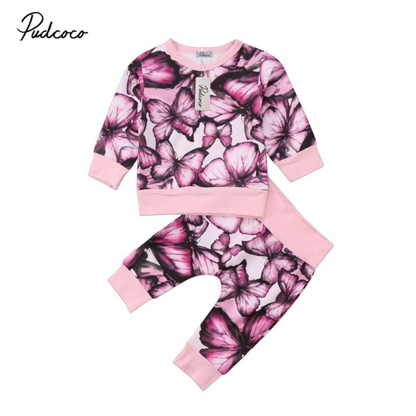 Pudcoco 2PCS Clothes Set Butterfly Newborn Kids Baby Girl Outfits Clothes T-Shirt Tops Pant Set