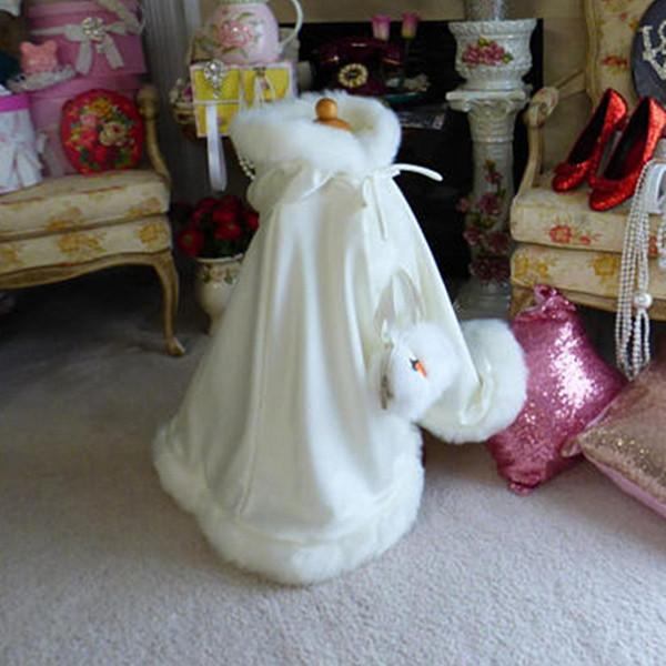 Ivory Color Children's Custom Made Girls Cape Kids Wedding Cloaks Faux Fur Jacket For Winter Kid Flower Girl Children Satin Child