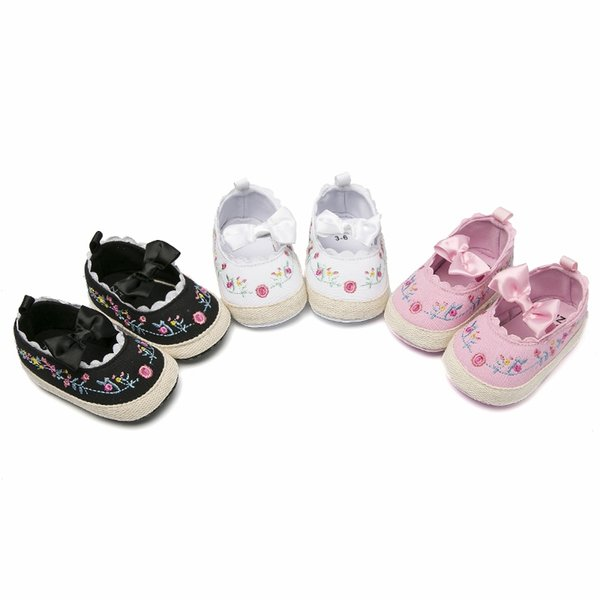 Baby Girls Shoes Embroidery Flower Bow princess shoes cute Baby Infant Toddler
