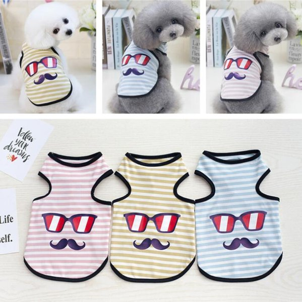 Small Dog Clothes Striped Beard Puppy Shirt Classic Pet Dog Vest Pet Dog Coat Summer Dogs Clothing 3 Designs YW1110