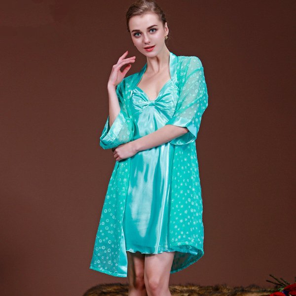 Loose Women Silk Robe and Gown Sets Summer Nightwear Women Set Mini Lingerie Gown 2 Pieces