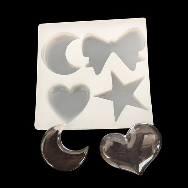 Mirror crystal drop mould silicon mold star moon bow heart translucent ornaments 16076