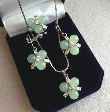 Free Shipping wholesale fashion new design jewelry 3 light green Natural Stone beads flower pendant earrings & ring(#7.8.9) jewelry sets