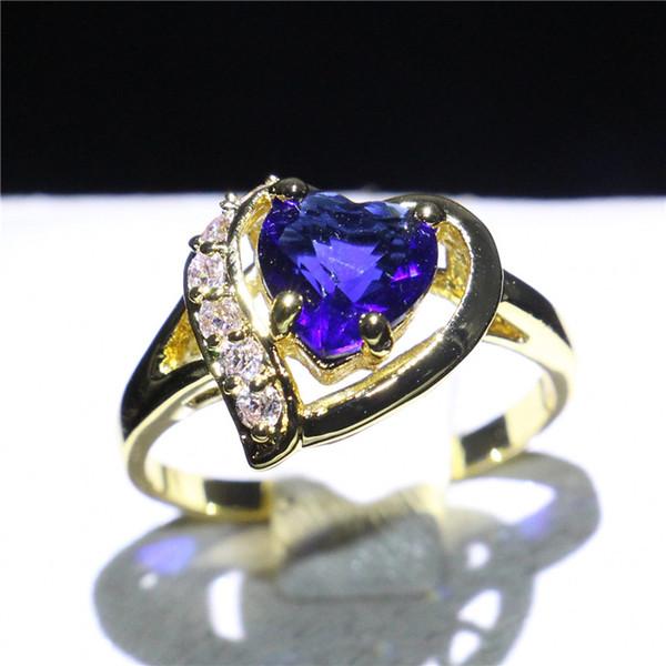 Femme Bleu saphir 18K or jaune rempli Fashion Bijoux Anneaux de mariage Taille 7