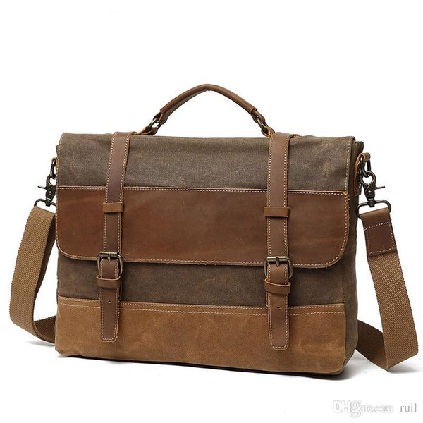 Ruil Retro Leather stitching Canvas Messenger Bags Multifunction Men Shoulder Briefcase Travel Handbag Vintage Package Five optional