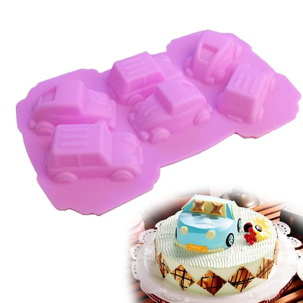 Baking 1PC Cake Pan Cartoon Cars Shape Silicone Soap Mold Fondant Cake Decorating Tools Kitchen Accessories Chocolate DIY Mold