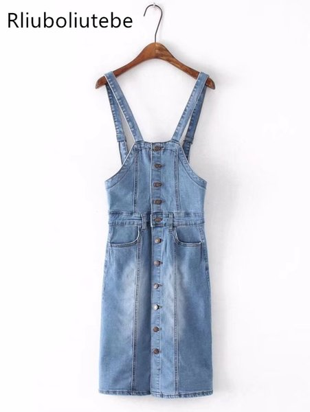 71e528675e 2019 Button Up Denim Overalls Dress Jeans Sundress With Top Backless  Sleeveless Spaghetti Strap Dress Women Sexy Retro Summer 2018 From  Odeletta, ...