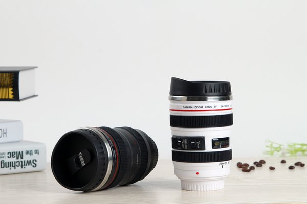 60pcs Camera Lens Mug 400ml Creative Canon Portable Stainless Steel Tumbler Travel Vacuum Flask Milk Coffee Mug Novelty cups lin3874
