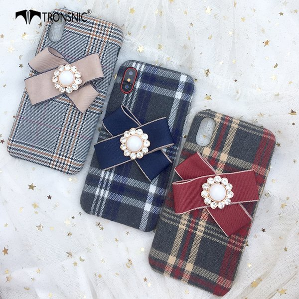 Tronsnic Lattice Phone Case for iPhone X Soft Matte 3d Diamond Bow Velvet Case for iPhone X Red Plaid White Fashion Cover Winter