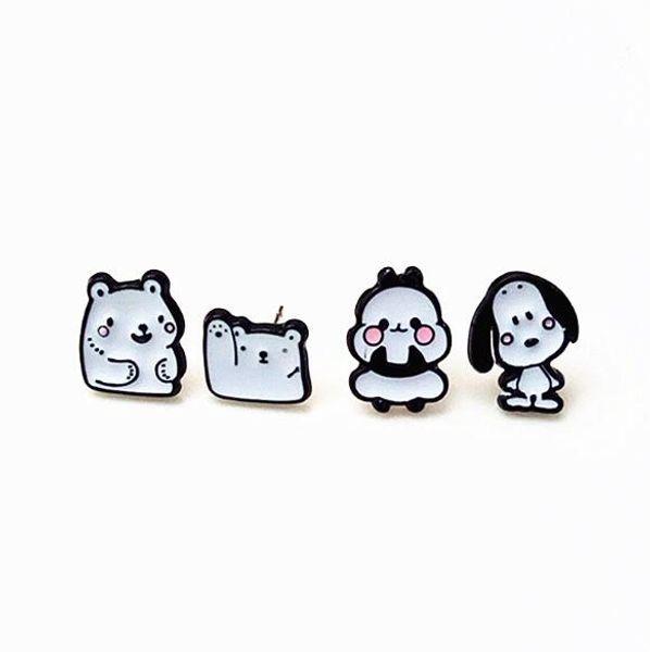 4 pairs Color drop oil series Cartoon polar bear white bear cute enamel alloy earrings mixed earring holiday gifts