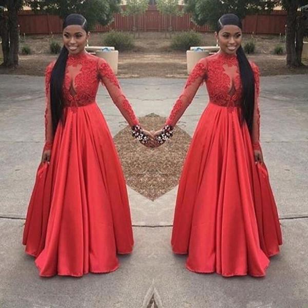 2018 Sexy Plus Size Red Formal Prom Dress Ball Gowns Black Girl V-neck Lace Stain Puffy Gonna Principessa maniche lunghe Abiti da sera