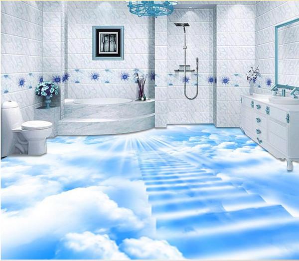 Wallpaper For Walls 3 D For Living Room Blue Sky And White Ladder 3d Floor To Floor Painting 3d Pvc Flooring Waterproof Wallpaper For Mobile Wallpaper