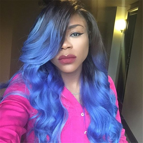 10-30inches two tone color Synthetic blue Lace Front Wig With Baby Hair Heat Resistant Wig 180% Density Long Ombre Wigs For Black Women