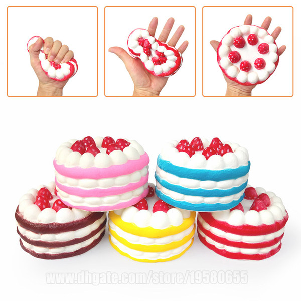 best selling Squishy Cake Strawberry Perfume Cream Pink Yellow Red Coffee Blue Fidget Jumbo Phone Straps Slow Rising Squishies Free Shipping SQU001