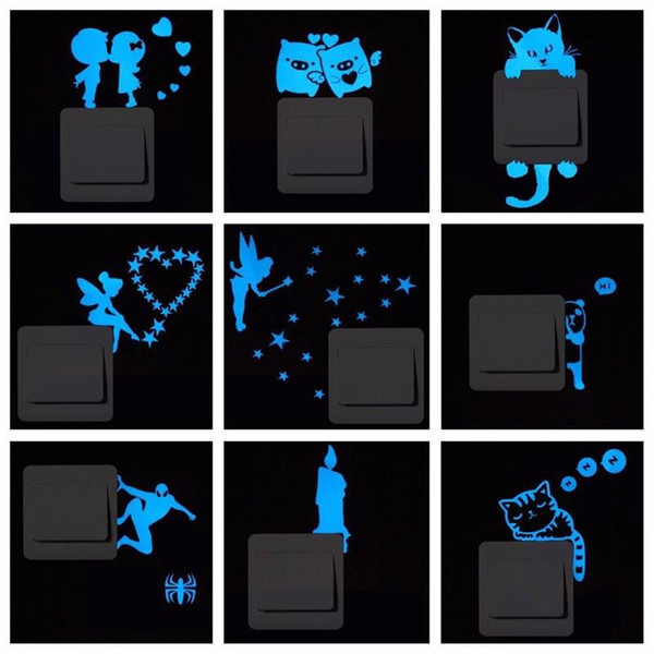 Hot sale Blue Light Noctilucent Decorative Stickers PVC Switch and Toilet Decals Removable fluorescent Sticker Free Stickers Home Decor