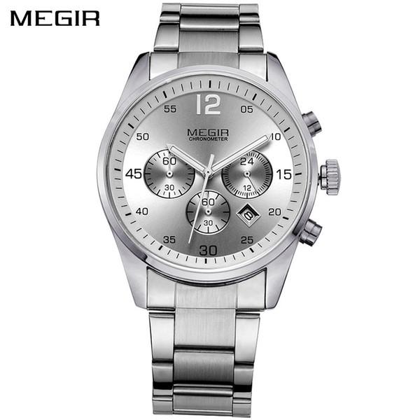 MEGIR top brand men's business quartz watch fashion time military code table stainless steel men's waterproof clock