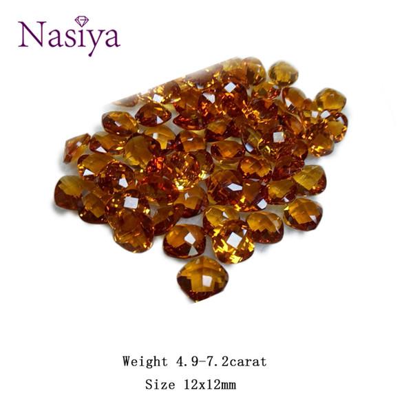 4.9-7.2ct Carat 12mm Natural Yellow Citrine Crystal Section Brasil Square Beads Piedra suelta Apto para DIY Fabricación de Joyas Finas