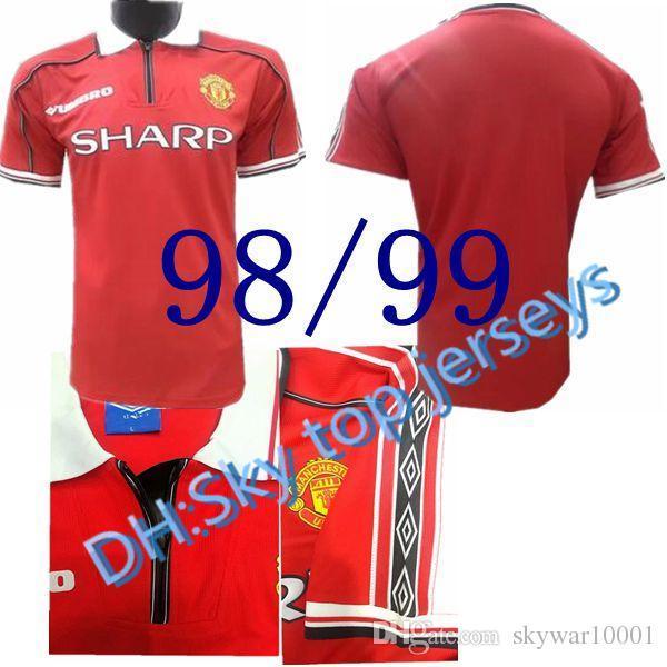Homme de qualité supérieure 1998-1999 United Retro Home away 98-99 Giggs, Scholes, Beckham, Neville maillot de football meilleure qualité chemise Livraison gratuite