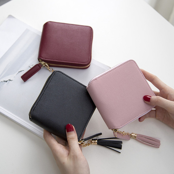 2018 cross-border short wallet woman Korean tassel small purse simple square zipper wallet lady's zero purse