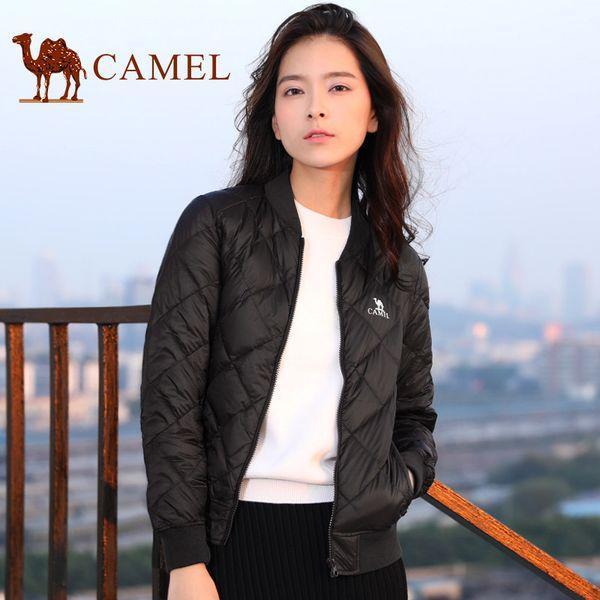 CAMEL Chaqueta de invierno Abajo Mujeres Casual Salvaje Ultra Ligero Abrigo de manga larga A prueba de viento Sólido Outwear sólido para damas