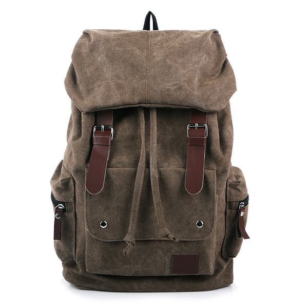 Canvas Backpack Vintage Outdoor Military Leather Rucksack Laptop Backpack Satchel School Bag for Men Women Traveling Hiking