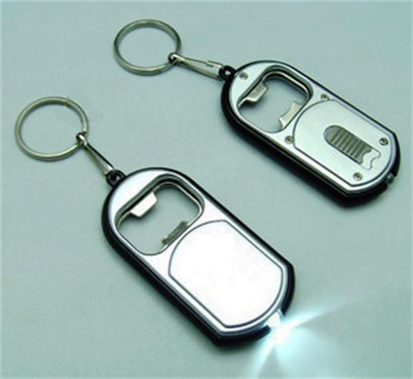 Multi Function Beer Bottle Opener Keychain Metal Alloy With Light Keyring Pendant Key Buckle Creative Business Gift 0 74mh jj