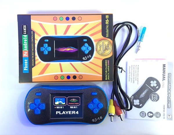 RS-16 Portable Game Players 16 Bit Game Console 2.5Inch LCD Screen Color Display Classic Games Portable Children's Handheld Game Player