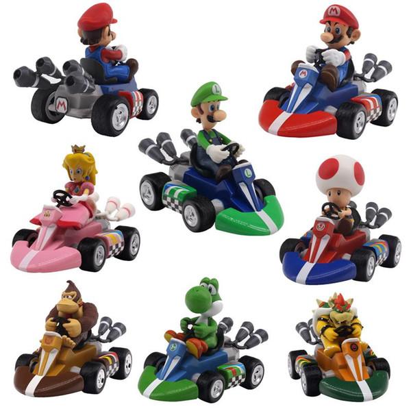 Super Mario Bros Figuras 12 Cm Japão Anime Dinossauros Luigi Donkey Kong Bowser Kart Puxar Para Trás Do Carro Pvc Figma Crianças Brinquedos Quentes para Meninos