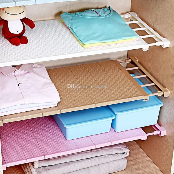 Adjustable Closet Organizer Storage Shelf Wall Mount Kitchen Cabinet Rack Space Saving Wardrobe Decorative Shelves Cabinet Holders WX9-1079