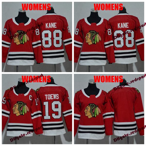 2018 YENI Bayan Chicago Blackhawks 19 Jonathan Toews 88 Patrick Kane Hokeyi Formalar Bayanlar Dikişli Kızlar Jersey C yama