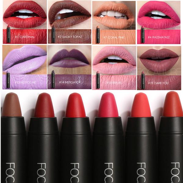 FOCALLURE 19 Colors Matte Lipstick Lips Crayon Velvet Texture Waterproof Long lasting Easy to Wear Cosmetic Nude Makeup Lipsticks Batom
