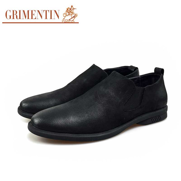 GRIMENTIN Hot sale brand men loafers nubuck leather comfortable soft mens casual shoes Italian fashion slip on black grey formal male shoes