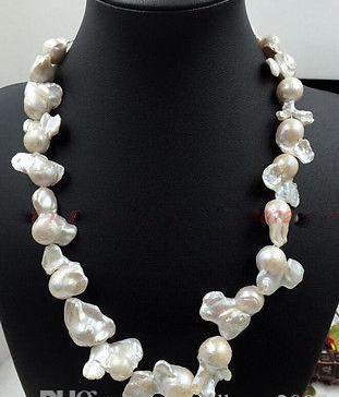 """Wholesale cheap Charming 18"""" Rear Huge South Sea White Baroque Pearl Necklace / Free Shipping"""