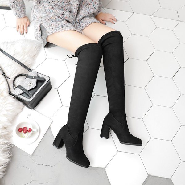Women Boots Black Over The Knee Boots Hig Heel Pointed Toe Autumn Female Shoes Plus Size Botas Mujer thigh high