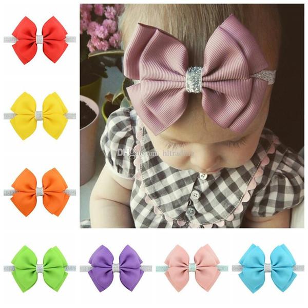 20 colores del bebé de las vendas del arco de los niños de la cinta del brillo del brillo Hairbands para las muchachas de los niños Accesorios para el cabello Bowknot doble tocado C5353