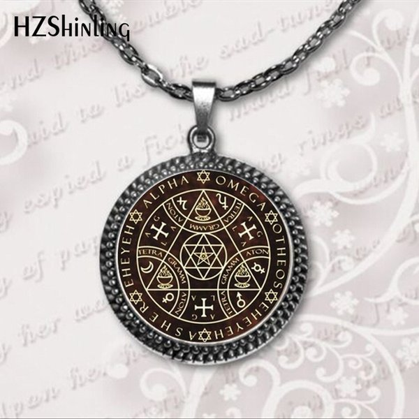 2018 Key of Solomon Sigil Logo Round Pendant Necklace Vintage Silver Choker Necklace Jewelry Gift Gaudy Adventurer HZ1
