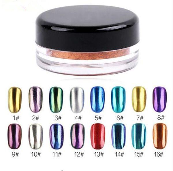 Nail Art 1g Glitter Mirror Effect Powder 16 Colors For UV GEL Acrylic Powder Electroplating For Manicure DIY Salon
