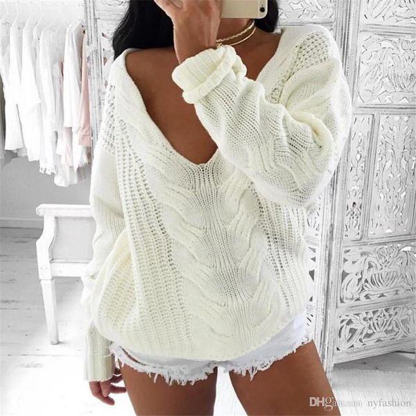 Compre Invierno Blanco Suéter De Punto Mujeres Otoño Hueco Suéter ...