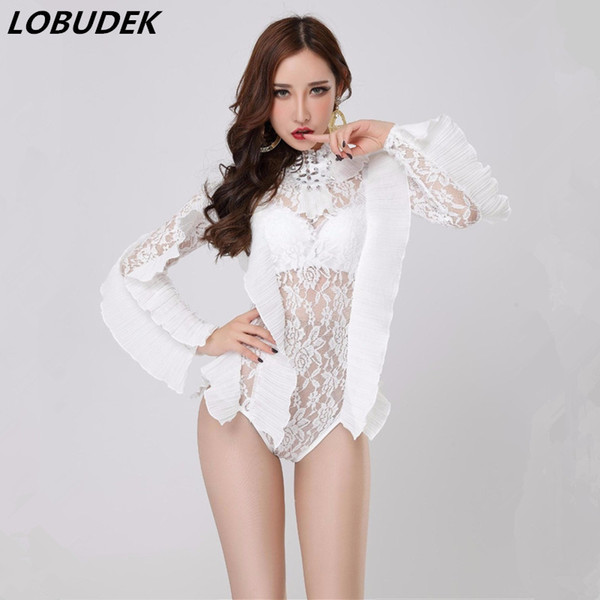 Bar Club lady singer dancer DJ DS costumes Sexy perspective bodysuit Elastic Lace white slim Catsuit Stage Pole dancing Costume