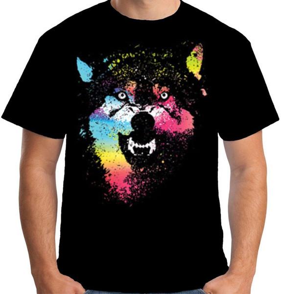 Velocitee Mens T Shirt Féroce Loup Coloré Horreur Néon Loups Effrayants A19948 Casual T-Shirt Homme À Manches Courtes Motif