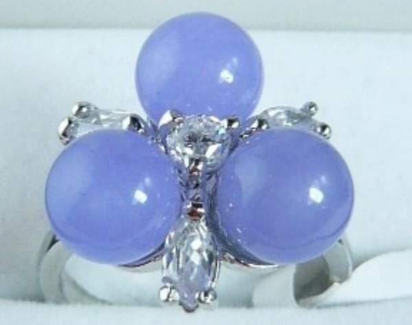 2 colors wholesale beautiful design 8mm 3 purple/green Natural Stone flower fashion ring(#7.8.9)