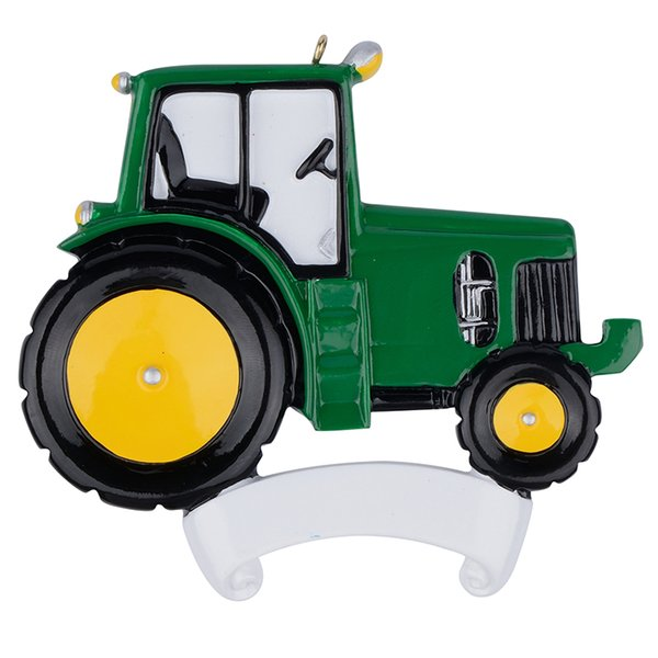 Maxora Tractor Green Polyresin Christmas Tree Occupation Ornaments Free Write Name Personalized Gifts For Holiday Party Home decoration