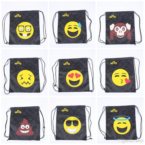 Both Shoulders Backpacks Cute Emoji Cartoon Emoji Clothes Storage Drawstring Bag For Outdoor Fitness Bundle Pocket Waterproof 4 8sp ii