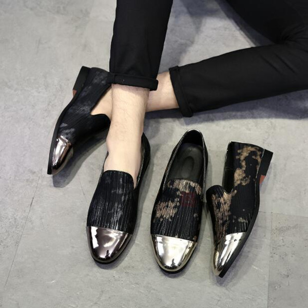 Big Size 38~47New Fashion Loafers Shiny Point Toe Men Casual shoes italian mens dress shoes Handmade Loafers Plus Size Flat Heel 1h28