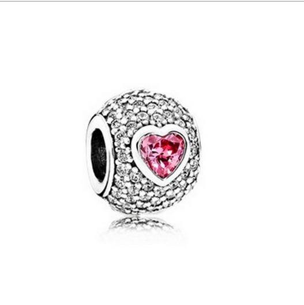 Großhandel 10 stück rosa herz kristall charme sterling silber europäischen charme perle pandora armbänder schlangenkette mode diy schmuck christma