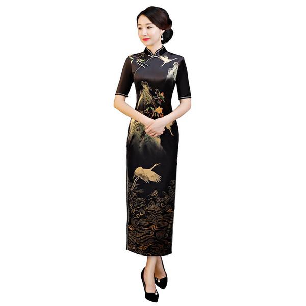 Shanghai Story 2018 New Sale Women's Vintage Crane Print Qipao Velvet Cheongsam Dress Long Chinese Dress For Women