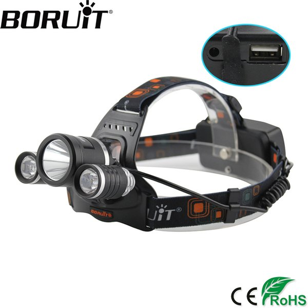 BORUiT 5000LM XM-L2 LED Headlamp 4-Mode Rechargeable Headlight Power Bank Head Torch Camping Hunting Lantern 18650 Battery