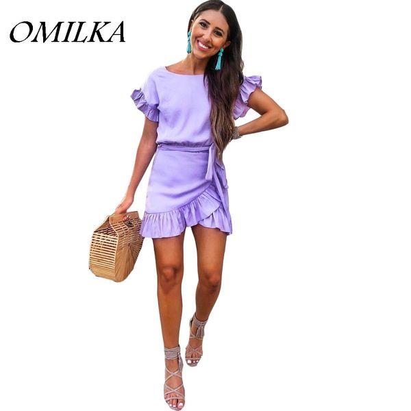 OMILKA 2018 Summer Women Petal Sleeve O Neck Ruffle Bodycon Dress Sexy Viola Rosso Club Party Bandage Mini Abiti Femininos