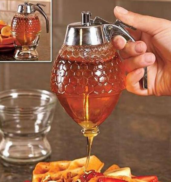 Honig Dispenser Jar Container Tasse Saft Sirup Wasserkocher Küche Bee Drip Ständer Halter Tragbare Lagerung Topf